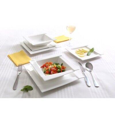 Square Porcelain Dinner Set 18 Piece White Ceramic Dinnerware Service Plate New Service Plate