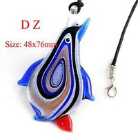 Women's Pretty Bead Glass Murano Pendant Blue Penquin