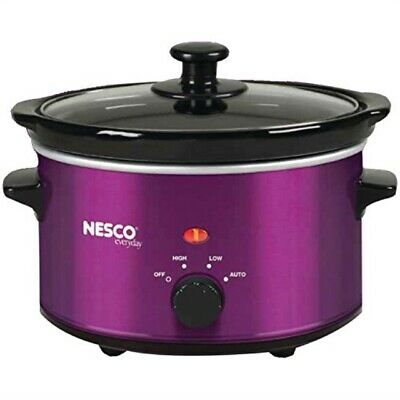 1.5 Quart Ceramic - NESCO SC150V Oval Slow Cooker Violet Ceramic 1.5 quart 120 watts