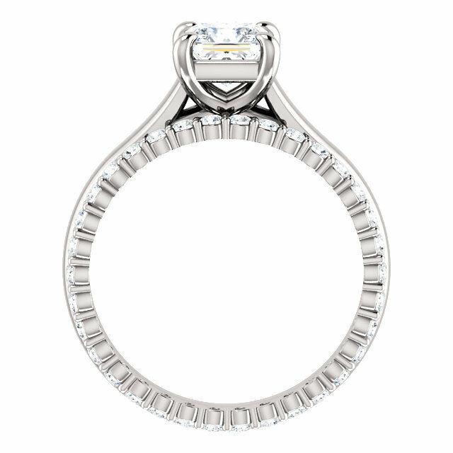 2.70Ct Princess Cut Diamond Engagement Ring w Eternity Wedding Band G VS2 GIA  3