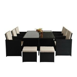 set patio exterieur table diner 11pcs coussins sofa
