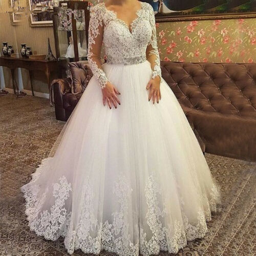 Plus Size Long Sleeves Lace Wedding Dresses Bridal Gown Tulle V Neck Ball Gowns