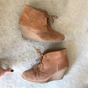 Suede Leather women's wedge booties, size 8.5, paid over $100!