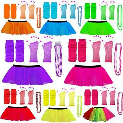 Neon 80s Tutu Set Skirt Leg Warmers Beads Hen Party Fancy Dress Costumes Dance (Neon Tutus)
