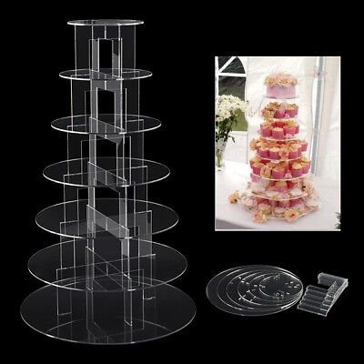 Cupcake Stand 7 Tier Round Clear Acrylic Display Tower for Wedding & Party UK