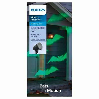 New Philips Motion Projector Rotating Bats Lights Halloween Green 20 Ft.
