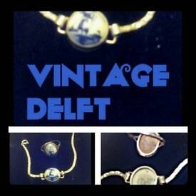 Vintage Delft silver jewelry