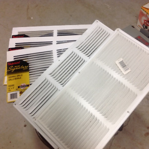 "3 White Sidewall Grills in packages 12"" x 6"", 2 Soffit Grills"