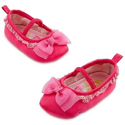 Disney Store Baby Girl Princess Aurora Costume Shoes Slippers Size 18-24 Months