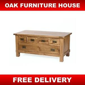 Dorset solid oak rustic furniture coffee table 5 drawer large
