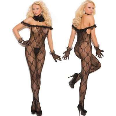 Lace Ruffle Bodystocking - Elegant Moments Bow Tie Lace Bodystocking w Ruffle & Open Crotch, OS or Queen
