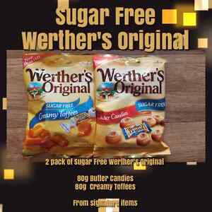 2 PACKS OF SUGAR FREE WERTHERS ORIGINAL CREAMY TOFFEES AND BUTTER CANDIES