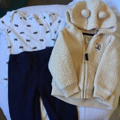 CARTERS - Bear print Bodysuit, Navy Pants & Ivory Fleece Hoodie - (Bear Bodysuit)