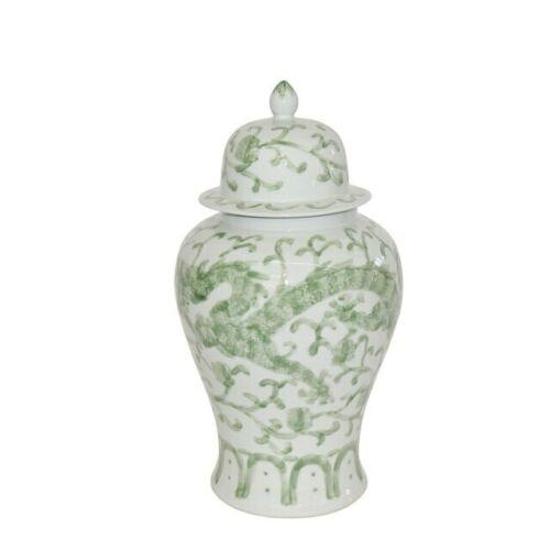 "Beautiful Green and White Porcelain Medallion Shaped Temple Jar Dragon Lotus 19"""