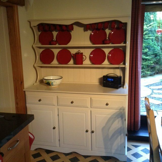 Cream painted Pine dresser with 3 doors and 3 cupboards