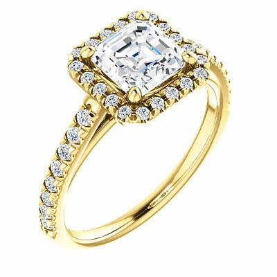 1.90 Ct. Asscher Cut Halo Round Diamond 14K Gold Engagement Ring Set D,VS1 GIA 2