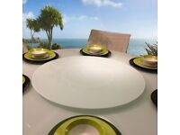 White Glass Lazy Susan for Dining Table 800mm diameter