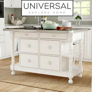 NEW* UNIVERSAL KITCHEN ISLAND 795A-644 199124681 TENNILLE W/ STAINLESS STEEL TOP EXPLORE HOME