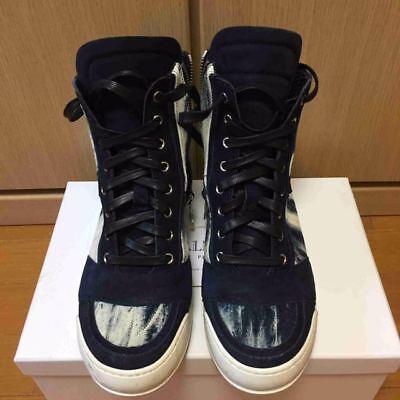 16ss balmain jeans commutation cuir daim haut coupe basket taille: 40