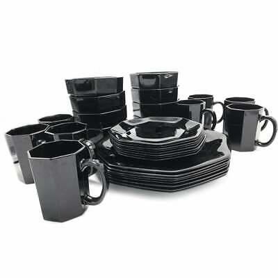 Arcoroc Octime Black Octagonal Dinner Salad Plate Cup Bowl Set for 4 Vintage Salad Plate Cup