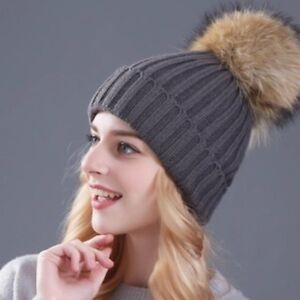 BRAND NEW HATS WITH REAL FUR POM POMS!!