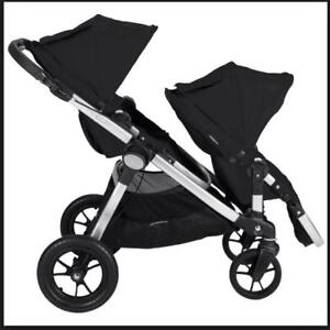 City Select Double Stroller with 2nd Seat+car seat adapter
