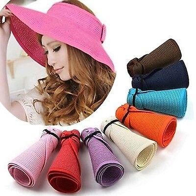1e15606d50c Womens Summer Sun Beach Hat Foldable Roll Up Wide Brim Straw Lady Visor Hats  Cap