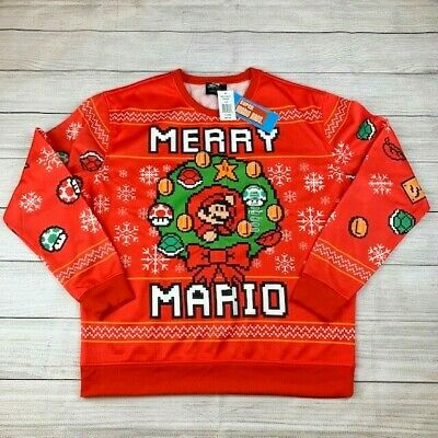 Mario Ugly Christmas Sweater Size XL Officially Licensed Nintendo Sweater Unisex