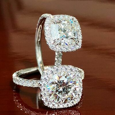 1.40 Ct Round Cut Diamond Halo Cushion Engagement Ring G,VS2 GIA White Gold 14K