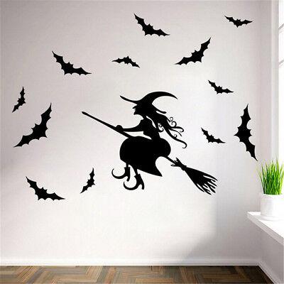 Black Witch Bat Wall Sticker Paper Art Removable Decals Santa Furniture