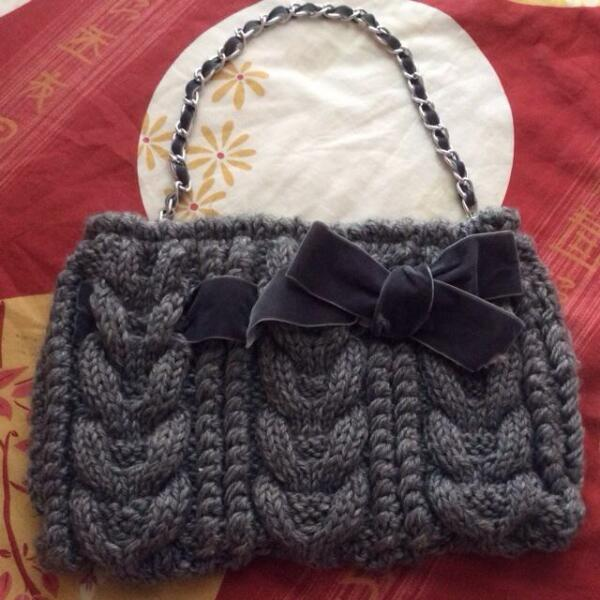 New Grey Knit Bag With Ribbon And Chain Handle