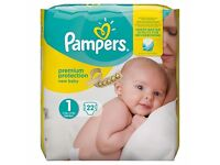 100 newborn size 1 single baby nappys (various brands but mostly pampers!!) BARGAIN BULK