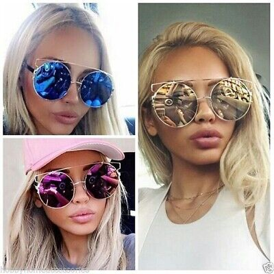 Round Metal Frame Mirrored Reflective Large Oversized Lenses Women (Reflective Shades)