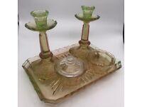 Gorgeous Depression glass dressing-table set