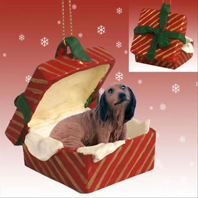 Dachshund Red Longhaired Dog RED Gift Box Holiday Christmas ORNAMENT for sale  Mount Carroll