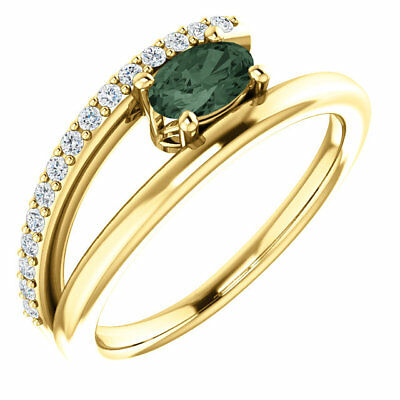 Chatham® Created Alexandrite & 1/8 CTW Diamond Bypass Ring In 14K Yellow -
