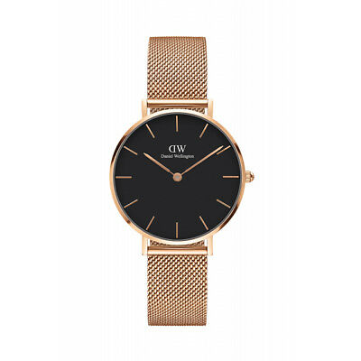 Daniel Wellington Women Classic Black Gold Face Petite Melrose Watch 32Mm