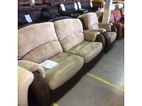 3 seater sofa with chair in beige fabric and brown leather look