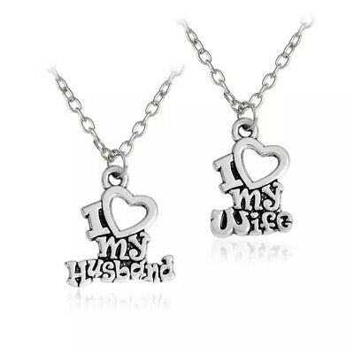 2 Piece Silver Plated I Love My Husband and I Love My Wife Necklace Set Couples