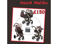 XD HAUCK MALIBU XL TRAVEL SYSTEM BLACK WHITE DOTS GIRLY PRAM PUSHCHAIR CAR SEAT CARRYCOT RAINCOVER