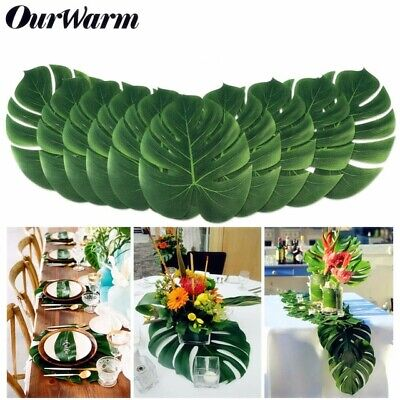 60 Artificial Fake Palm Leaves Plant Tableware Hawaiian Party Wedding Table Deco](Fake Palm Leaves)