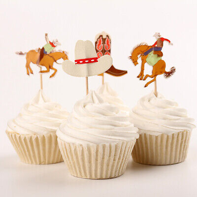 Cowboy Western Theme Party Cupcake Toppers/ Food Picks Decoration, Set Of 24 - Cowboy Cupcakes