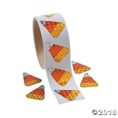 100 COOL CANDY CORN PRISM STICKERS Halloween TRICK OR TREAT ALTERNATIVE loot bag](Alternative Halloween Treats)