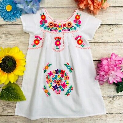 Unik Traditional Mexican Girl Embroidered Dress Size 2-14 Cinco de Mayo