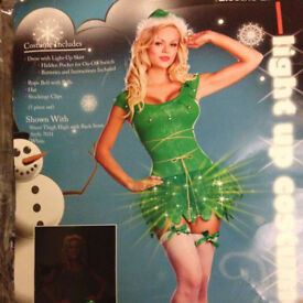 Ladies Fancy Dress Electric Elf Light up Outfit Size M 8/10 IDEAL FOR CHRISTMAS PARTIES Will Post