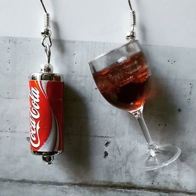 Handmade COKE CAN & GLASS EARRINGS MINIATURE asymmetric GLASS can COCA COLA ice
