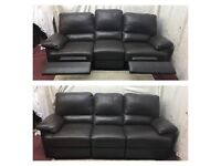 Brown leather 3 Seater electric recliner sofa