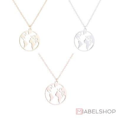 ketten Weltkarte Globus Welt Symbol Rosegold Gold Silber (Halskette Ketten)