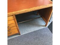 wooden desk with 5 draws