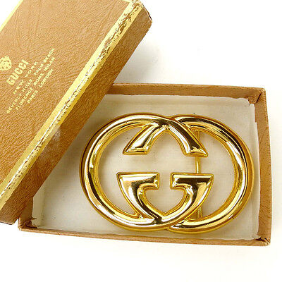 Auth GUCCI buckle interlocking unisexused J6131